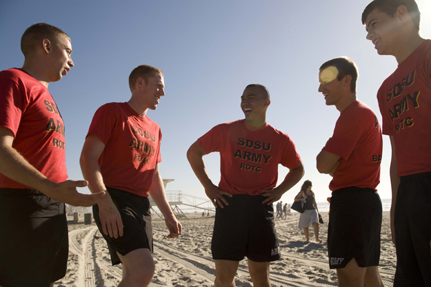 Cadets exercising on the beach